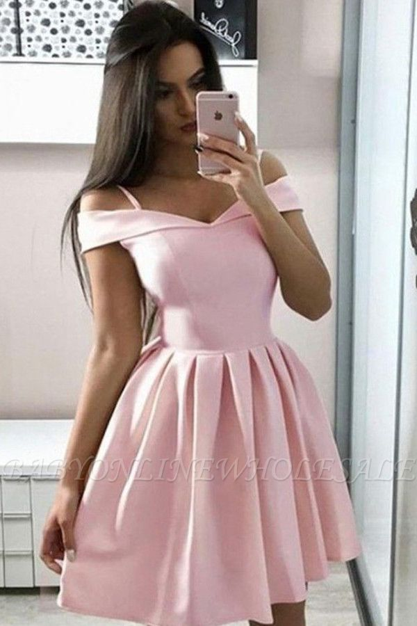 Simple Off the Shoulder Pink Homecoming Dress | Chic Sweetheart Ruffles Affordable Short Cocktail Dress