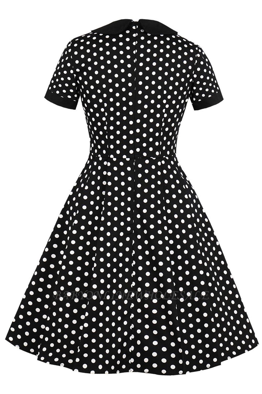 schlichte vintage kleider 50er jahre | elegante damen kleider kurz Ärmel