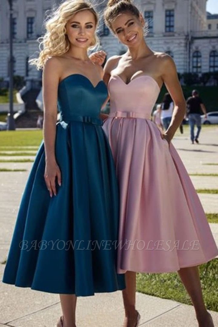 Simple Tea Length Sweetheart Pink Prom Dress   Affordable Strapless Navy Blue Prom Dress with Sash