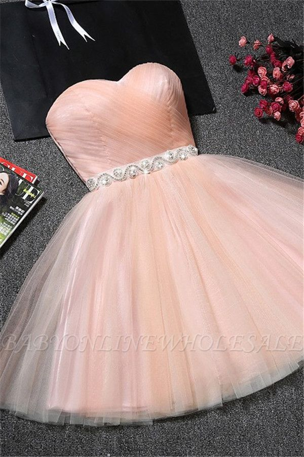 Tulle Ruffles Pink Homecoming Dress pas cher   Robe courte chérie Hoco