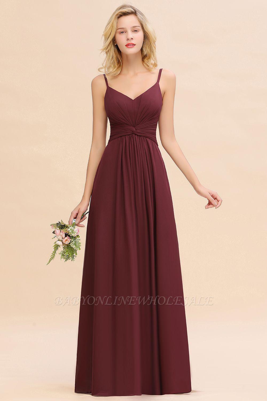Elegantes Brautjungfer Kleid Weinrot | Schlichte Brautjungfernkleider Mit Träger Bodenlang