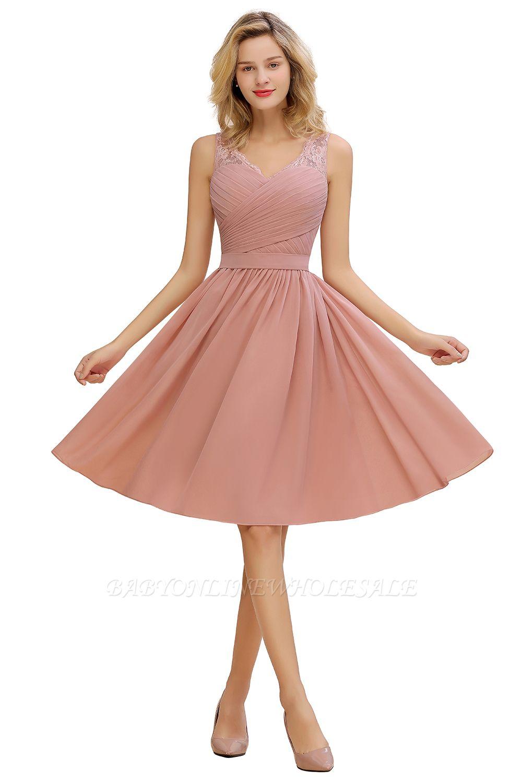 Spitze V-Ausschnitt lange kurze Heimkehr Kleider mit Gürtel   Sexy ärmelloses Cocktailkleid mit V-Rücken in knielangem Pink