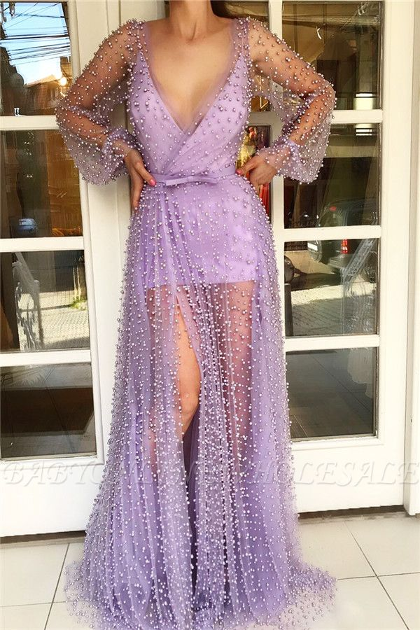 Sexy V Neck Long Sleeves Prom Dress with See Through Skirt | Chic Tulle Pink Long Prom Dress with Pearls