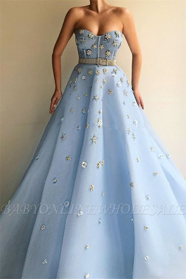 Stylish Strapless Sweetheart Beading Flowers Prom Dress | Chic Blue Tulle Long Prom Dress with Beadning Sash