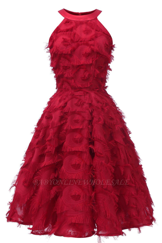 Elegant Halter Feather Princess Vintage Dresses | Retro A-line Burgundy Homecoming Dress