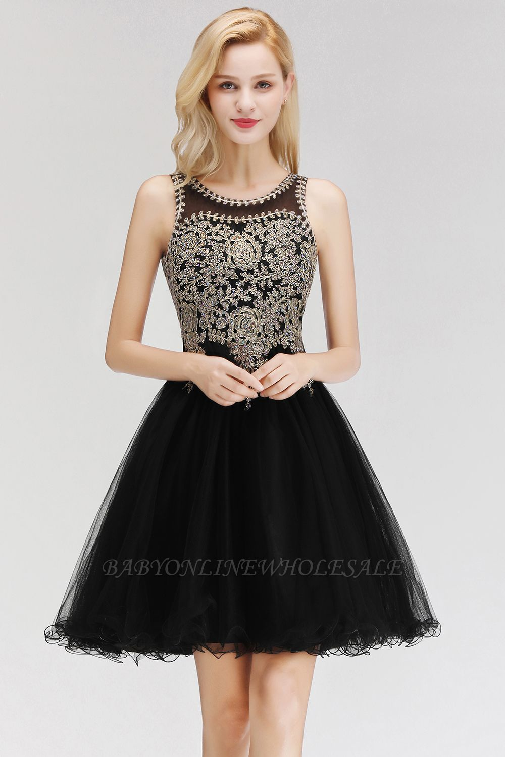 Cute Crew Neck Puffy Homecoming Dresses with Lace Appliques | Beaded Sleeveless Open back Black Teens Dress for Cocktail