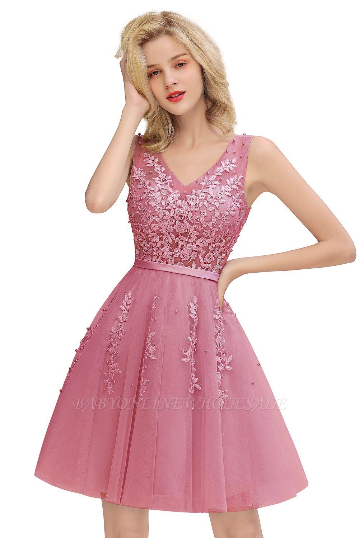 Sexy V-Ausschnitt Lace-up Short Homecoming Kleider mit Spitzenapplikationen   Burgunder, Marine, staubiges Rosa Zurück zu Schule Kleid