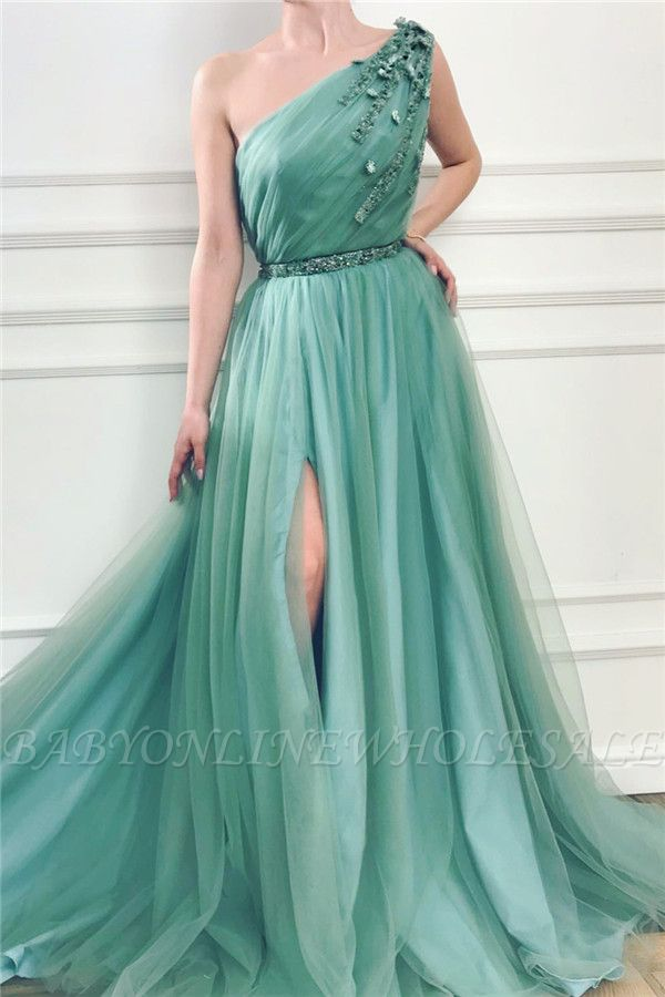 Glamorous One Shoulder Green Tulle Prom Dress with Beading | Sexy Front Slit Long Prom Dress with Beading Sash