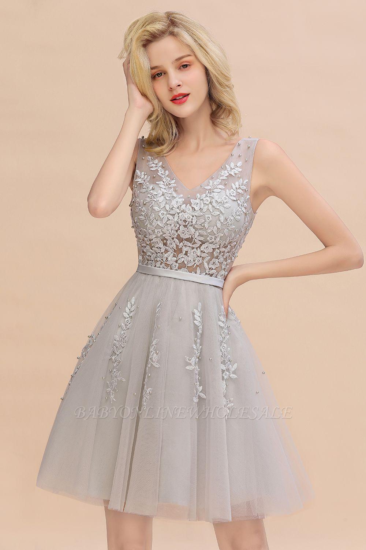 Sexy V-Ausschnitt Lace-up Short Homecoming Kleider mit Spitzenapplikationen | Burgunder, Marine, staubiges Rosa Zurück zu Schule Kleid
