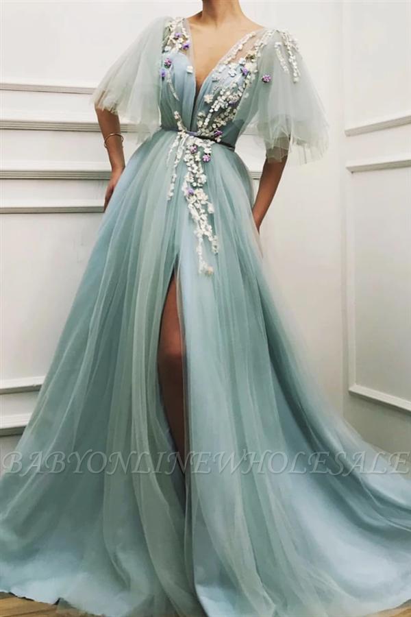 Sexy Deep V Neck Front Slit Prom Dress | Short Sleeveless Tulle Appliques Long Prom Dress