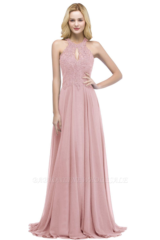 PANSY | A-Linie Keyhole Ausschnitt Halter lange Perlen Prom Kleider