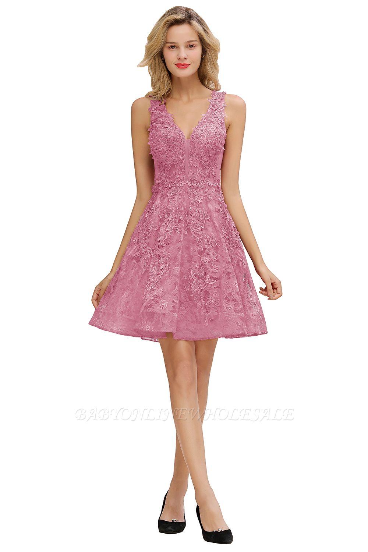 Princesse col en V longueur genou dentelle appliques robes de soirée   Robe de bourgogne pour les retrouvailles