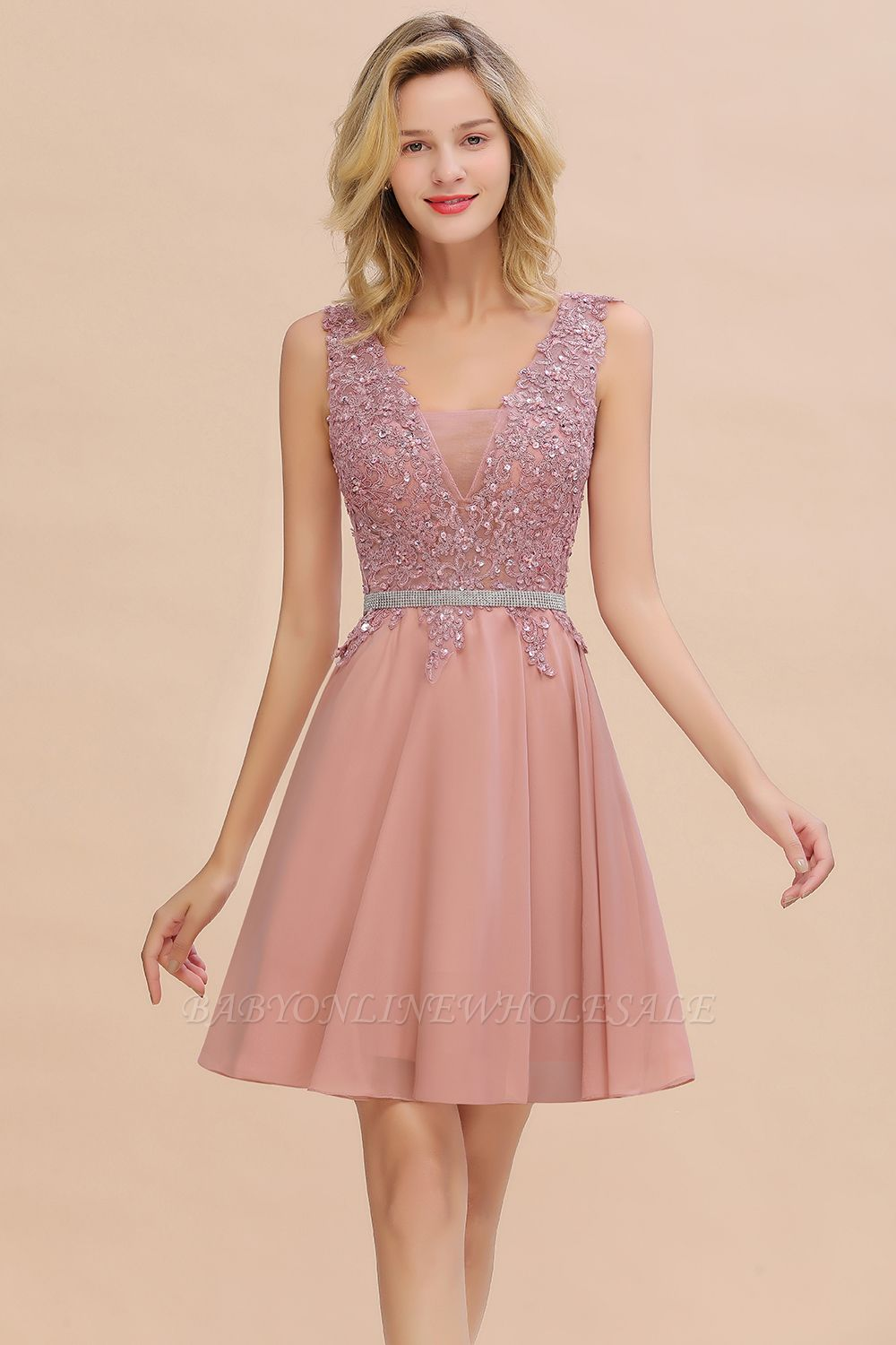 Cute Deep V-neck Short Sexy Sleeveless V-back Dusty Pink Knee length Womens Dress for Cocktail Party