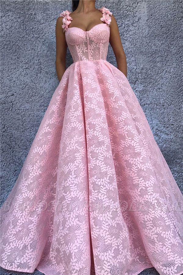 Exquisite Lace Sweetheart Pink Abendkleid | Chic Flower Straps ärmelloses langes Abendkleid