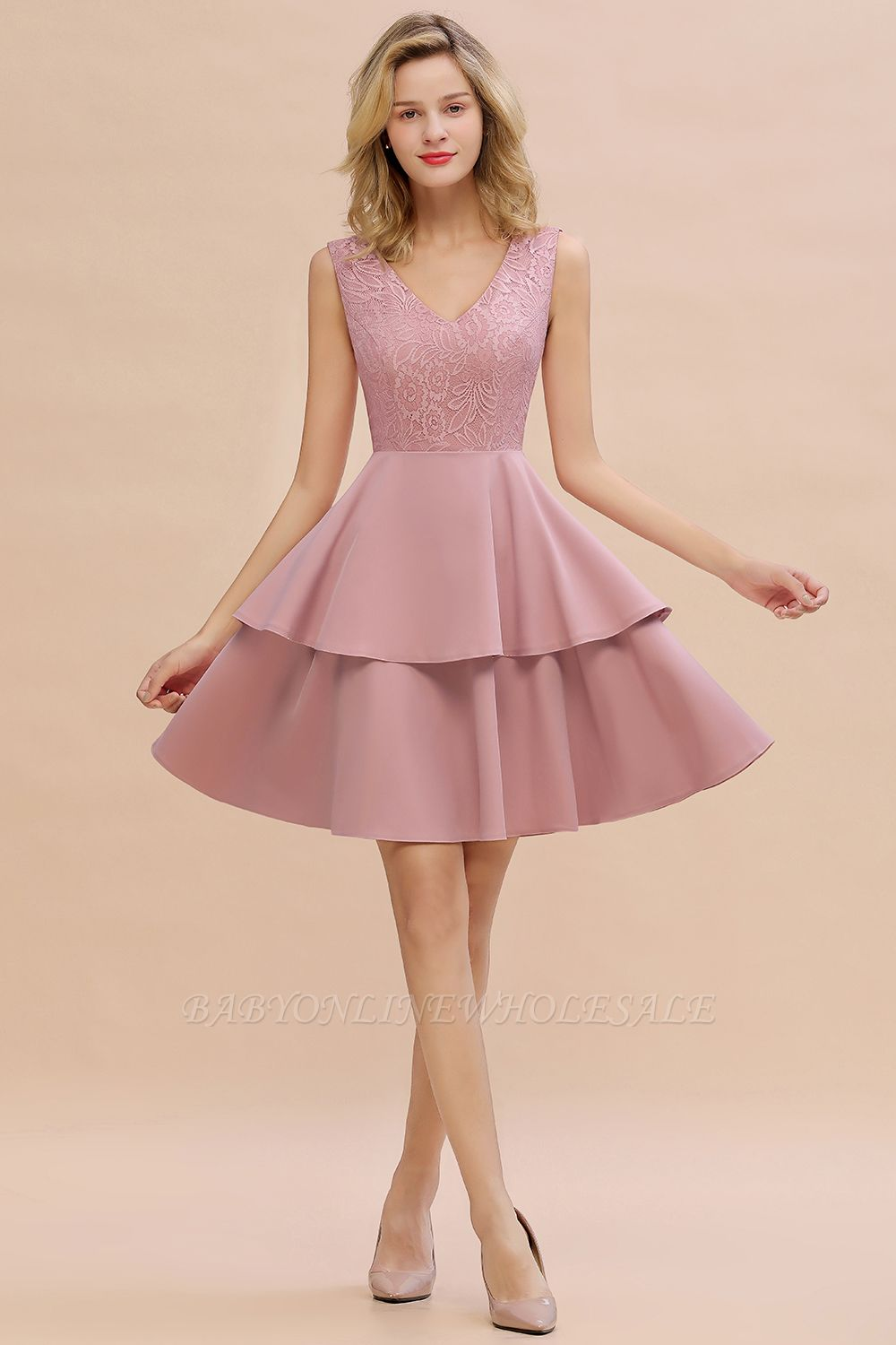 Sexy V-neck V-back Knee Length Homecoming Dresses with Ruffle Skirt | Burgundy, Navy, Pink Dress for Homecoming