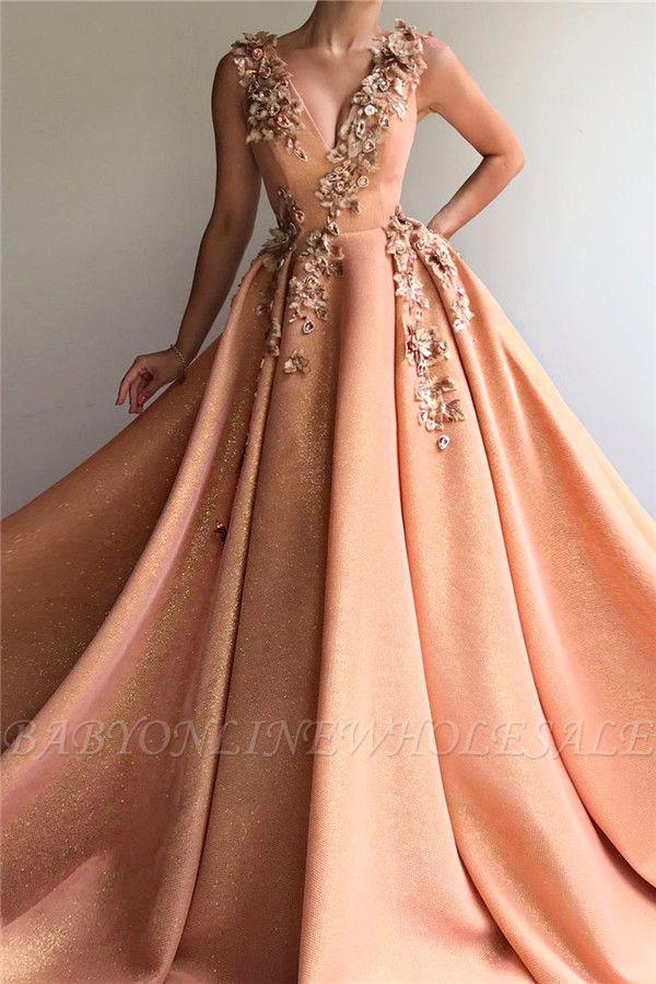 Sparkly Sequins V-Ausschnitt ärmelloses Abendkleid | Chic Appliques Long Affordable Abendkleid