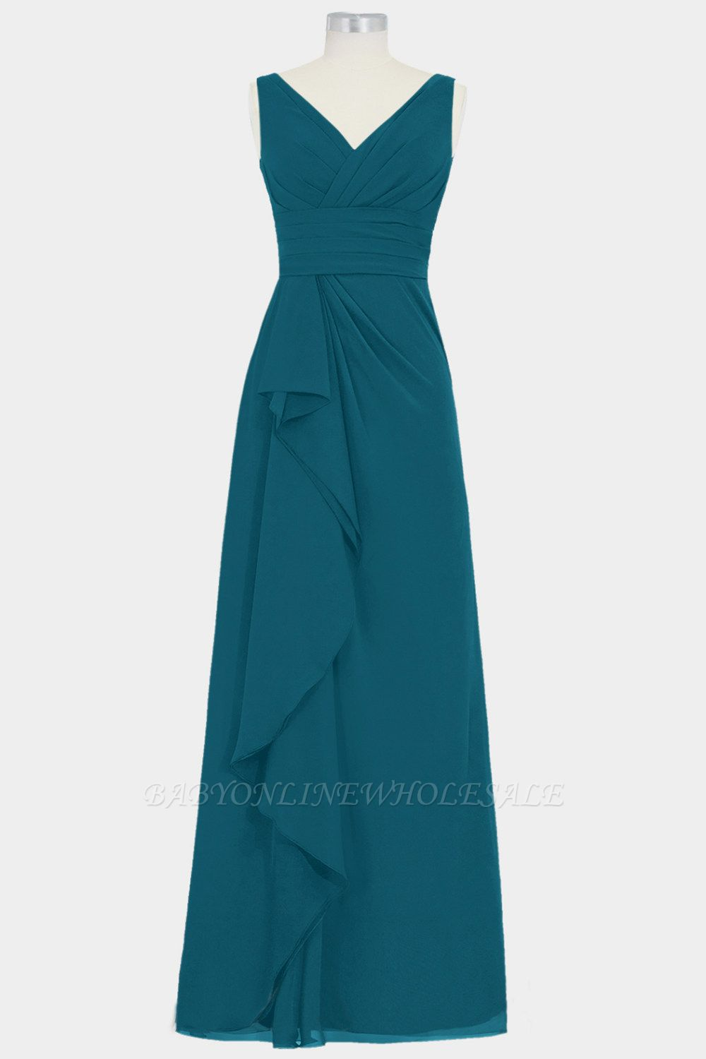 Summer Chiffon A-line Bridesmaid Dress | V-neck Floor Length Maid of honor Dress