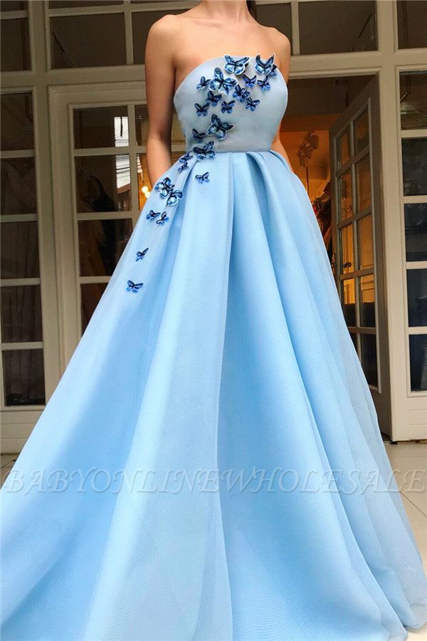 Simple Strapless Sleeveless Blue Tulle Prom Dress | Chic Ruffles Long Prom Dress with Butterfly