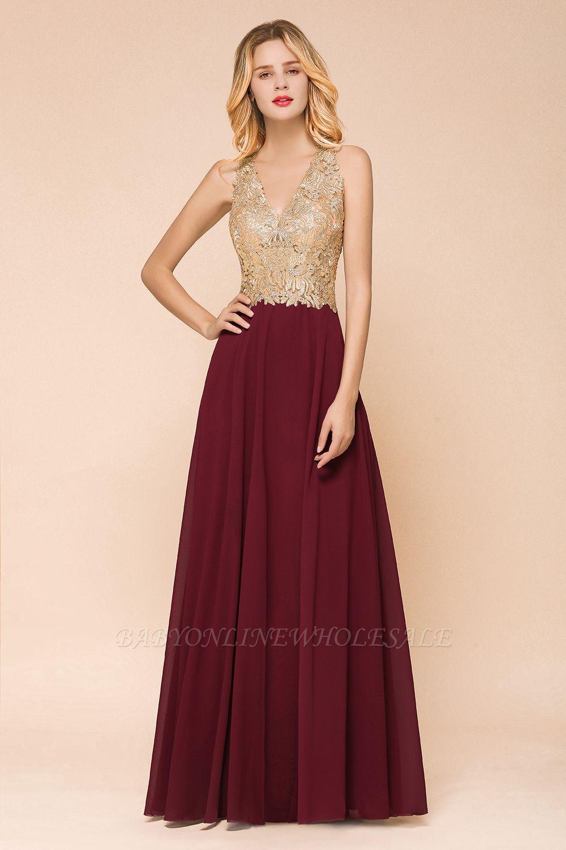 Великолепное бордовое вечернее платье без рукавов с v-образным вырезом | Дешевое Формальное Платье