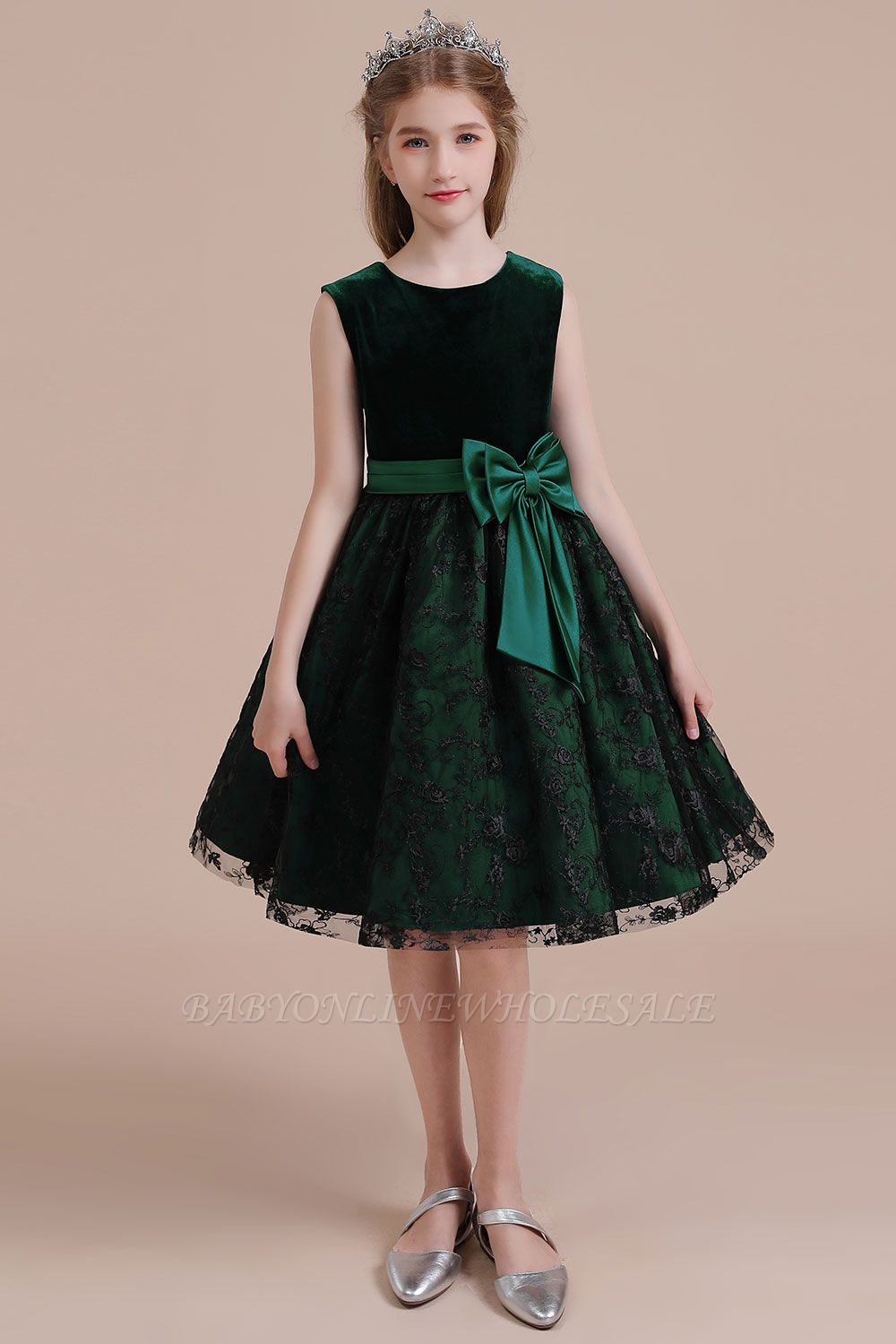 Autumn Knee Length Flower Girl Dress | Lace Velvet A-line Little Girls Pegeant Dress Online