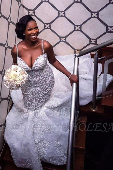 Robes de mariée de luxe en dentelle perlée sirène sweetheart | Appliques spaghetti-sangles robes de mariée pas cher