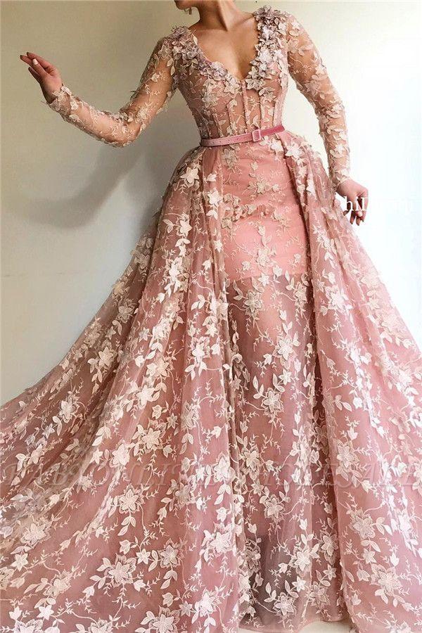 Sexy durchsichtig Tüll rosa langen Ärmeln Abendkleid | Charmante Meerjungfrau mit V-Ausschnitt Applikationen langen Abendkleid