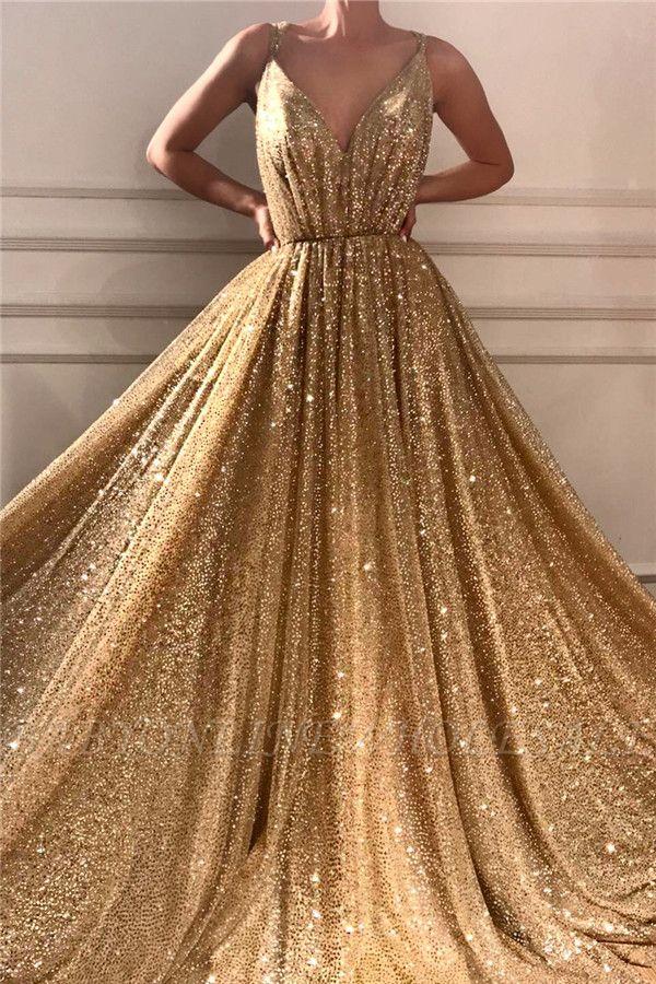 Lentejuelas glamorosas correas de espagueti vestido de fiesta largo | Vestido de fiesta dorado sin mangas con cuello en V brillante