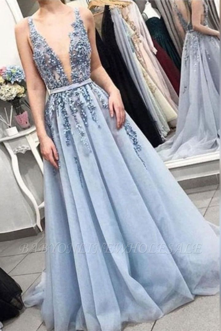 Sexy Straps Deep V Neck Long Prom Dress   Exquisite Lace Beading Blue Prom Gown