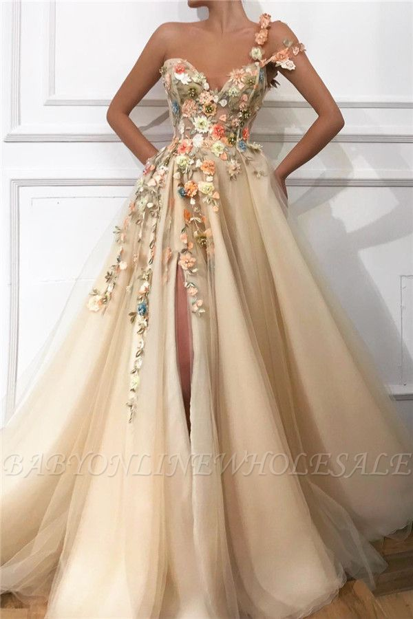 Stylish One Shoulder Strap Tulle Prom Dress | Sexy Sweetheart Front Slit Appliques Flowers Prom Dress