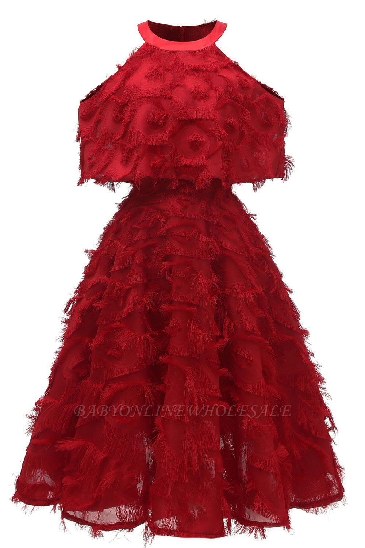 High neck Elegant Crew Neck Artificial Feather Dress Burgundy Princess Midi Dresses