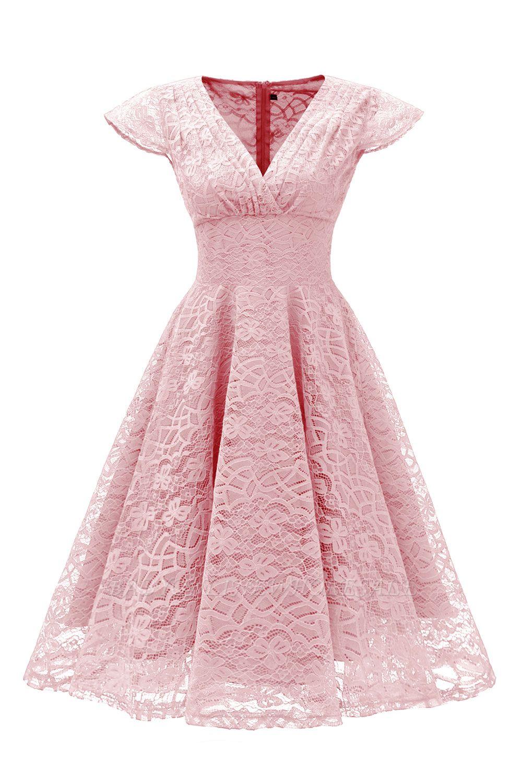 Elegante Spitze Vintage Rockabilly Kleid | Schöne V-Ausschnitt Damen Kleider A-Linie