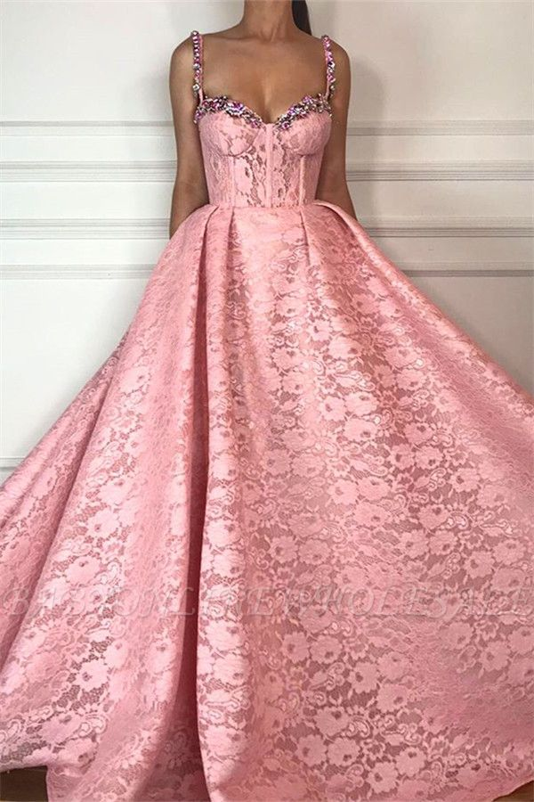 Fantastic Ball Gown Straps Sweetheart Prom Dress | Gorgeous Pink Lace Beading Long Prom Dress