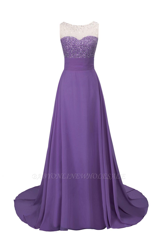 Purple Elegant SLNY Rhinestone Embellished  Backless Pleats Long Evening Dress