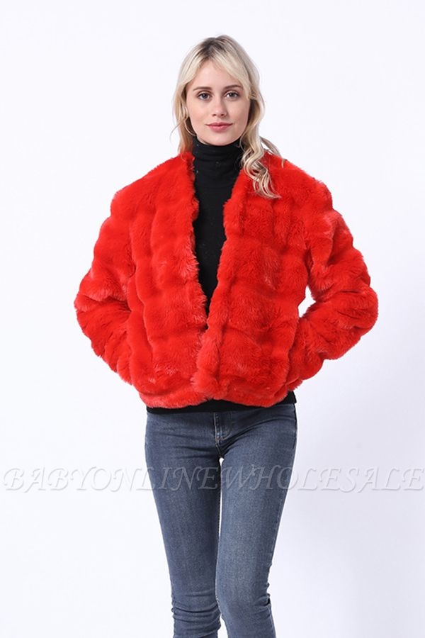 Women's Winter Short Fur Coat |Solid Colored Luxury Long Sleeve Faux Fur Pleated Formal Style Ruby Overcoat
