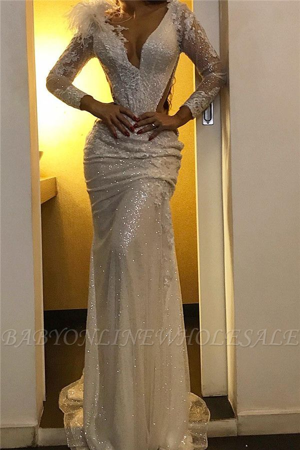 Sequined Mermaid V-neck Evening Dresses | Sexy Sparkling Fur Formal Gowns