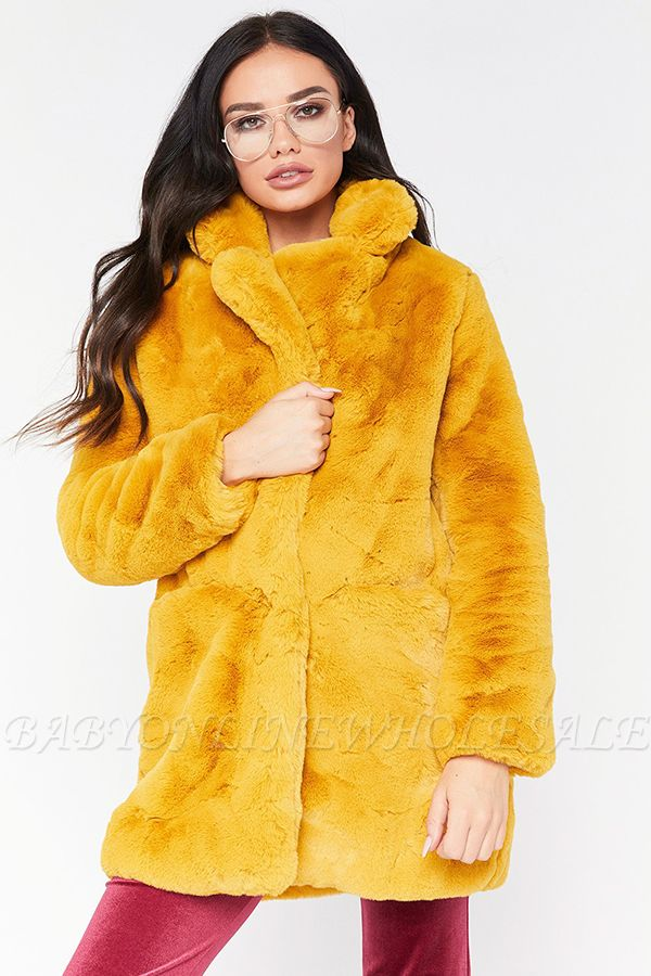 Daily Regular Stand Long Faux Fur Coat| Solid Colored Long Sleeve Faux Fur Yellow / Blue / Fuchsia