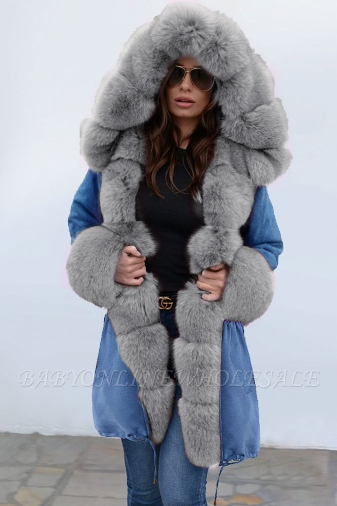 Midnight Blue Hooded Long-length Faux Fur Coat | Women's Solid Color Winter/Fall Jacket