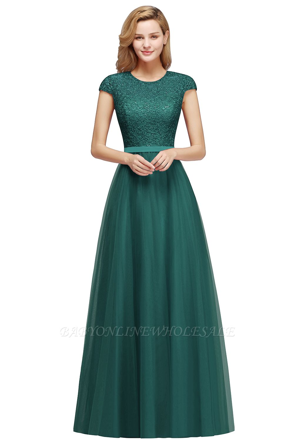 Elegant Lace Top Cap Sleeves Long Tulle Bridesmaid Dresses