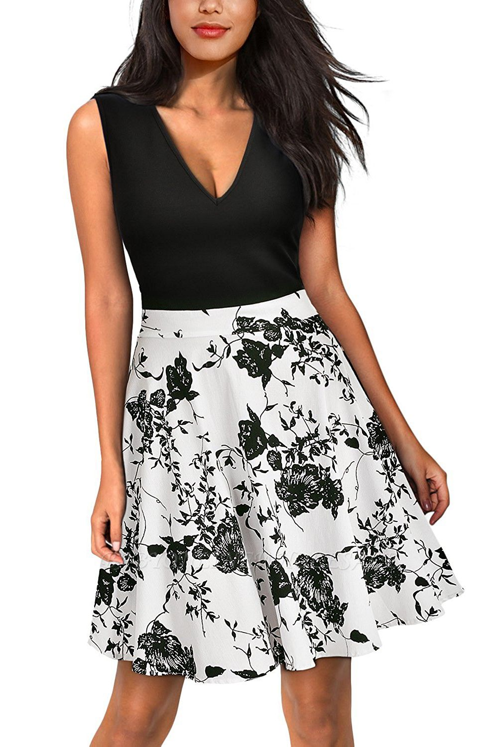 Sleeveless Sexy V-neck A-line Dress with Floral Skirt | Clearance Sale & Free Shipping