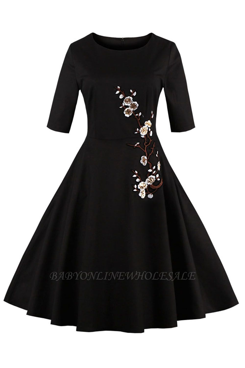 1/2 Sleeve Black Dress with Embroidered Flowers | Clearance sale and free shipping