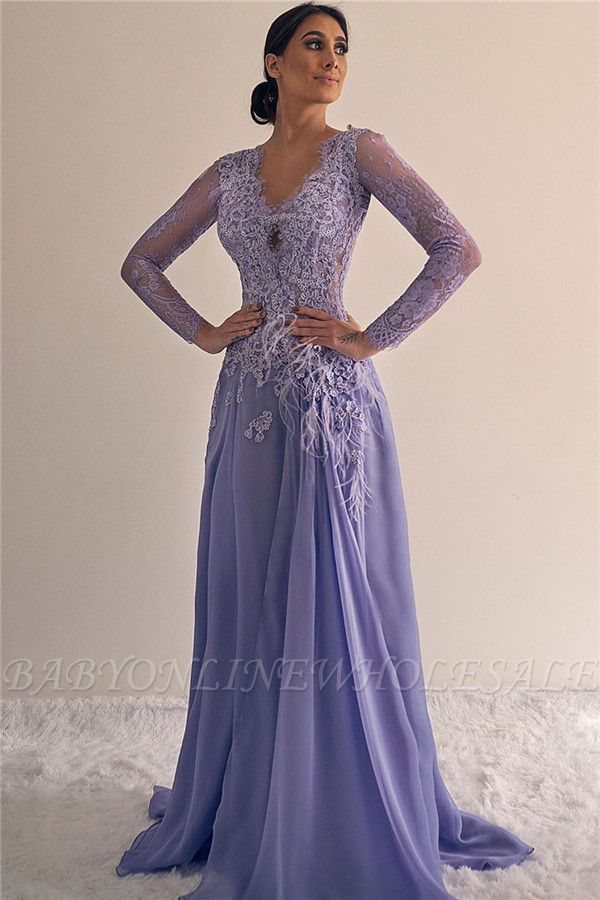 A-line V-neck Lace Formal Dresses | Long Sleeves Lilac Evening Gowns