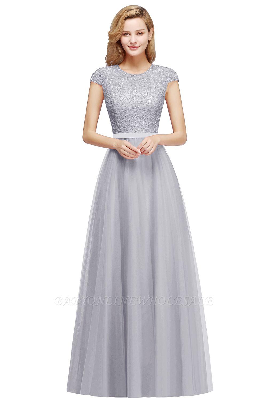 Elegant Lace Top Cap Sleeves Long Tulle Bridesmaid Dresses