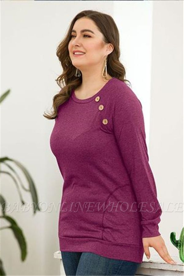 Long Sleeves Button Pullover Plu Size Shirts with Pockets