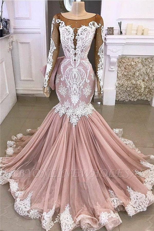 Lace Mermaid Appliques Formal Gowns   Exquisite Evening Dresses