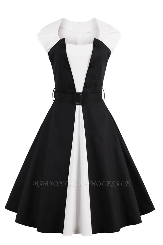 Vestido blanco y negro con cuello redondo y manga esencial de cuello redondo