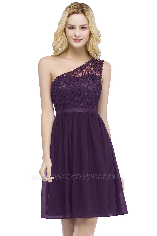 ROSA | A-line Короткие одно плечевые кружевные верхние шифонные платья для выпускного вечера с поясом
