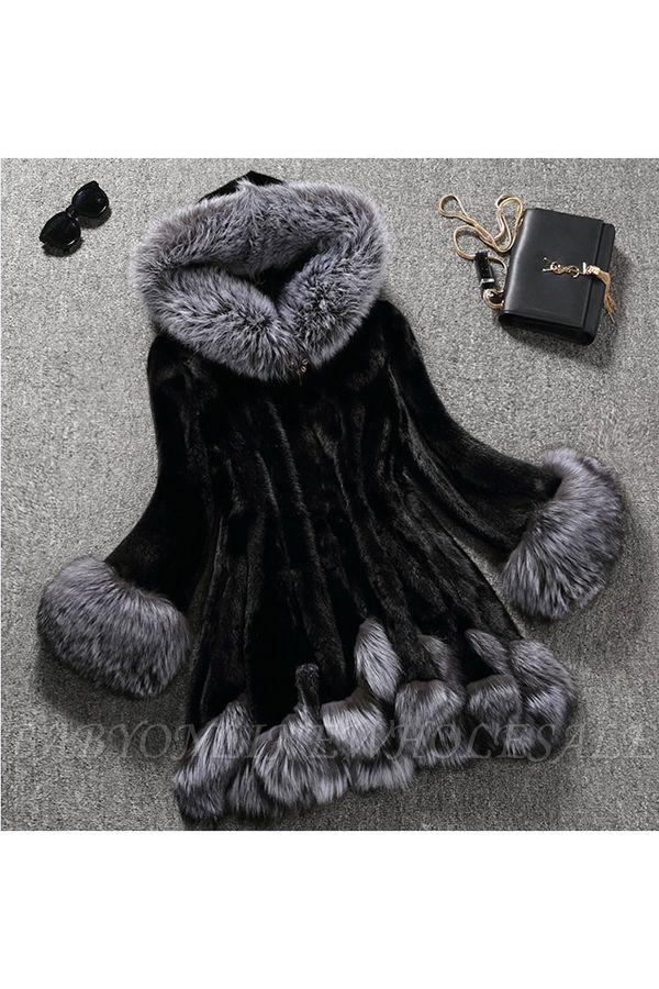 Abrigo con capucha de media longitud negro / blanco de piel sintética | Chaqueta de piel sintética con cuello chal artificial islandés