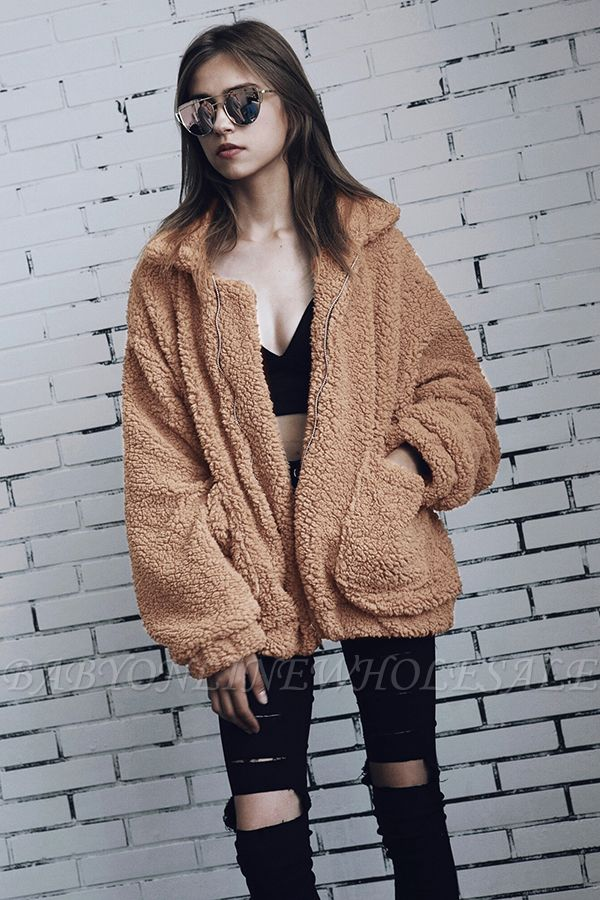 Going out Basic Regular Faux Fur Coat| Solid Colored Stand Long Sleeve Faux Fur White / Brown / Black