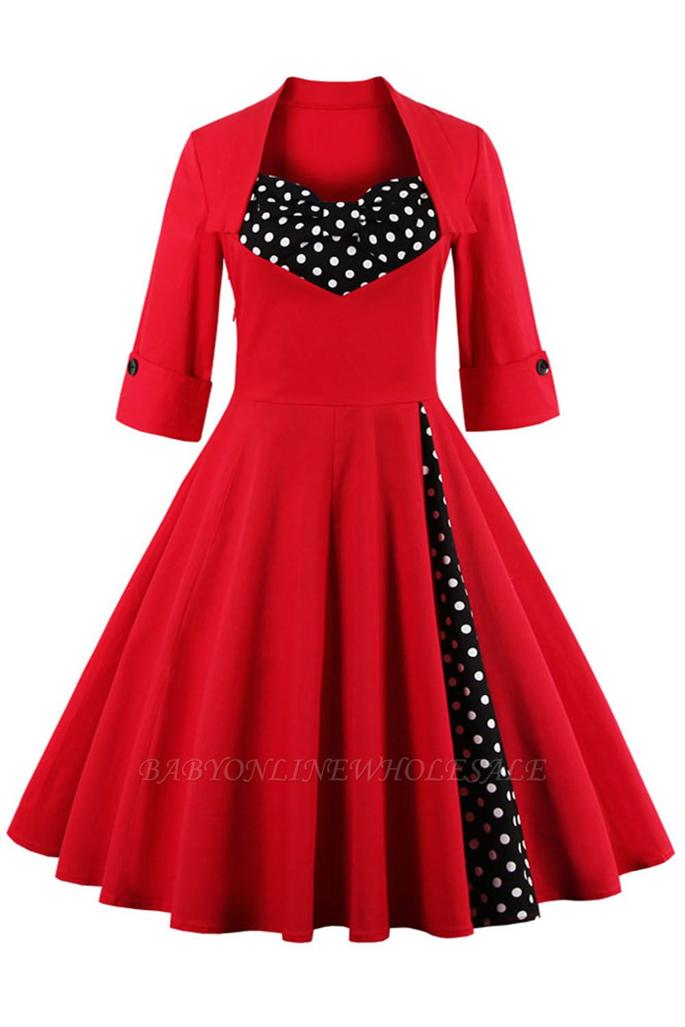 1/2 Sleeve Bow Tie Two Toned Vintage Dress with Pleats clearance sale & free shipping