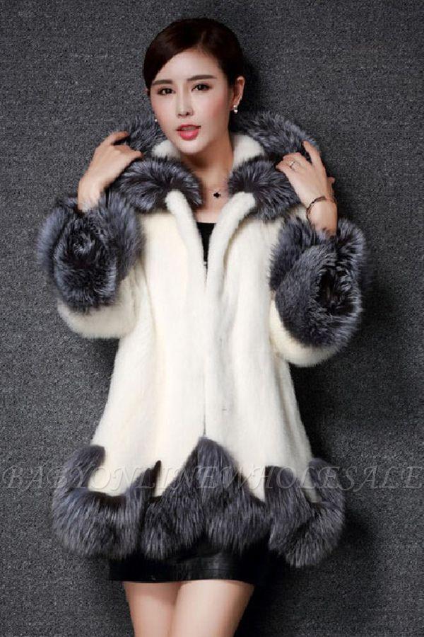 Manteau mi-long à capuche en fausse fourrure noir / blanc | Veste en fausse fourrure à col châle artificiel islandais